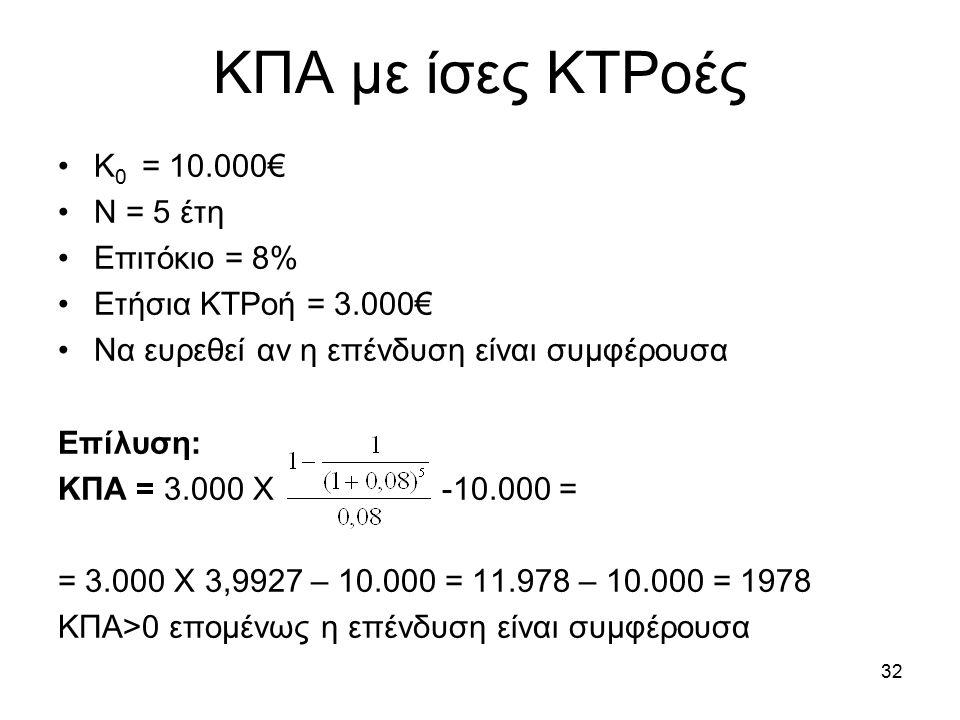 32 ΚΠΑ με ίσες ΚΤΡοές Κ 0 = 10.000€ Ν = 5 έτη Επιτόκιο = 8% Ετήσια ΚΤΡοή = 3.000€ Να ευρεθεί αν η επένδυση είναι συμφέρουσα Επίλυση: ΚΠΑ = 3.000 Χ -10.000 = = 3.000 Χ 3,9927 – 10.000 = 11.978 – 10.000 = 1978 ΚΠΑ>0 επομένως η επένδυση είναι συμφέρουσα