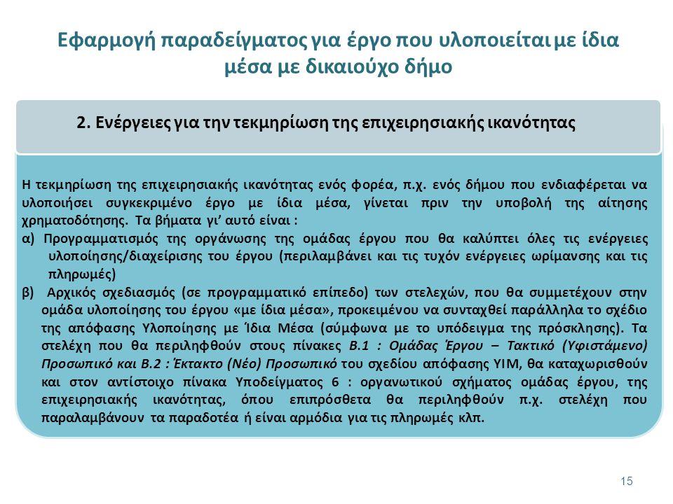 Εφαρμογή παραδείγματος για έργο που υλοποιείται με ίδια μέσα με δικαιούχο δήμο 15 2.