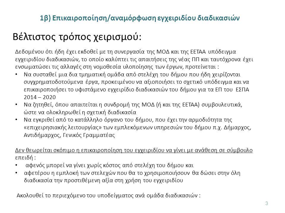 1β) Επικαιροποίηση/αναμόρφωση εγχειριδίου διαδικασιών 3 Βέλτιστος τρόπος χειρισμού: Δεδομένου ότι ήδη έχει εκδοθεί με τη συνεργασία της ΜΟΔ και της ΕΕΤΑΑ υπόδειγμα εγχειριδίου διαδικασιών, το οποίο καλύπτει τις απαιτήσεις της νέας ΠΠ και ταυτόχρονα έχει ενσωματώσει τις αλλαγές στη νομοθεσία υλοποίησης των έργων, προτείνεται : Να συσταθεί μια δια τμηματική ομάδα από στελέχη του δήμου που ήδη χειρίζονται συγχρηματοδοτούμενα έργα, προκειμένου να αξιοποιήσει το σχετικό υπόδειγμα και να επικαιροποιήσει το υφιστάμενο εγχειρίδιο διαδικασιών του δήμου για τα ΕΠ του ΕΣΠΑ 2014 – 2020 Να ζητηθεί, όπου απαιτείται η συνδρομή της ΜΟΔ (ή και της ΕΕΤΑΑ) συμβουλευτικά, ώστε να ολοκληρωθεί η σχετική διαδικασία Να εγκριθεί από το κατάλληλο όργανο του δήμου, που έχει την αρμοδιότητα της «επιχειρησιακής λειτουργίας» των εμπλεκόμενων υπηρεσιών του δήμου π.χ.