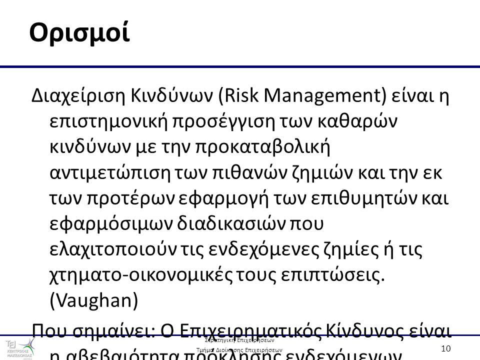 Στρατηγική Επιχειρήσεων Τμήμα Διοίκησης Επιχειρήσεων 10 Ορισμοί Διαχείριση Κινδύνων (Risk Management) είναι η επιστημονική προσέγγιση των καθαρών κινδύνων με την προκαταβολική αντιμετώπιση των πιθανών ζημιών και την εκ των προτέρων εφαρμογή των επιθυμητών και εφαρμόσιμων διαδικασιών που ελαχιτοποιούν τις ενδεχόμενες ζημίες ή τις χτηματο-οικονομικές τους επιπτώσεις.