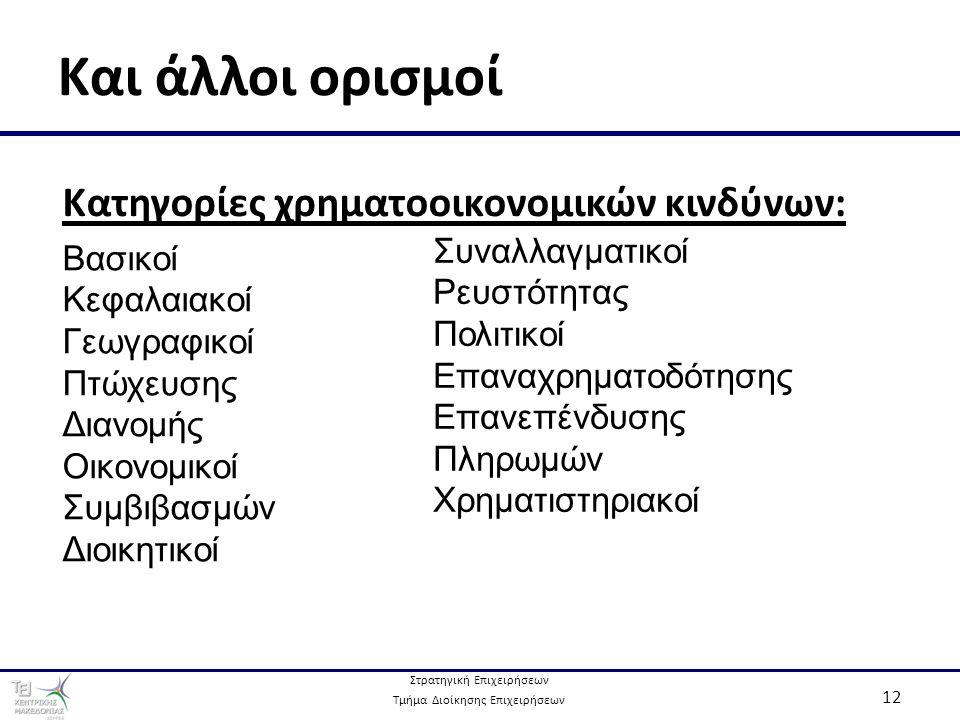 Στρατηγική Επιχειρήσεων Τμήμα Διοίκησης Επιχειρήσεων 12 Και άλλοι ορισμοί Κατηγορίες χρηματοοικονομικών κινδύνων: Βασικοί Κεφαλαιακοί Γεωγραφικοί Πτώχευσης Διανομής Οικονομικοί Συμβιβασμών Διοικητικοί Συναλλαγματικοί Ρευστότητας Πολιτικοί Επαναχρηματοδότησης Επανεπένδυσης Πληρωμών Χρηματιστηριακοί