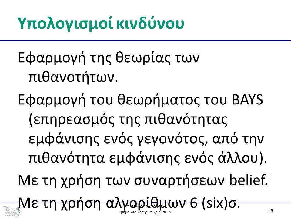 Στρατηγική Επιχειρήσεων Τμήμα Διοίκησης Επιχειρήσεων 18 Υπολογισμοί κινδύνου Εφαρμογή της θεωρίας των πιθανοτήτων. Εφαρμογή του θεωρήματος του BAYS (ε