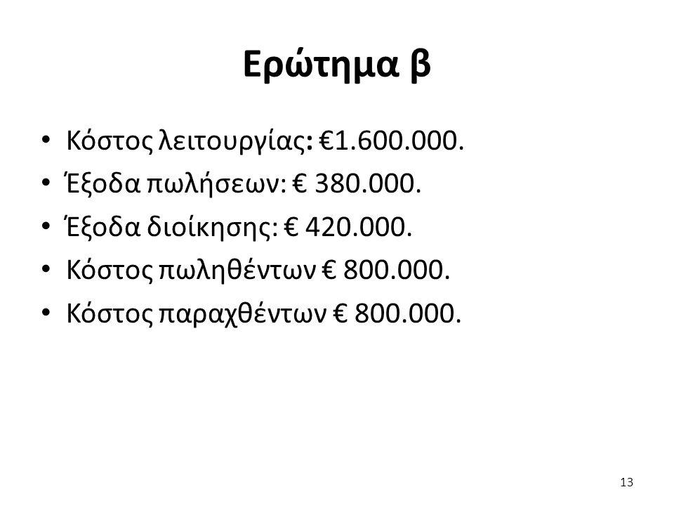 Ερώτημα β Κόστος λειτουργίας: €1.600.000. Έξοδα πωλήσεων: € 380.000.