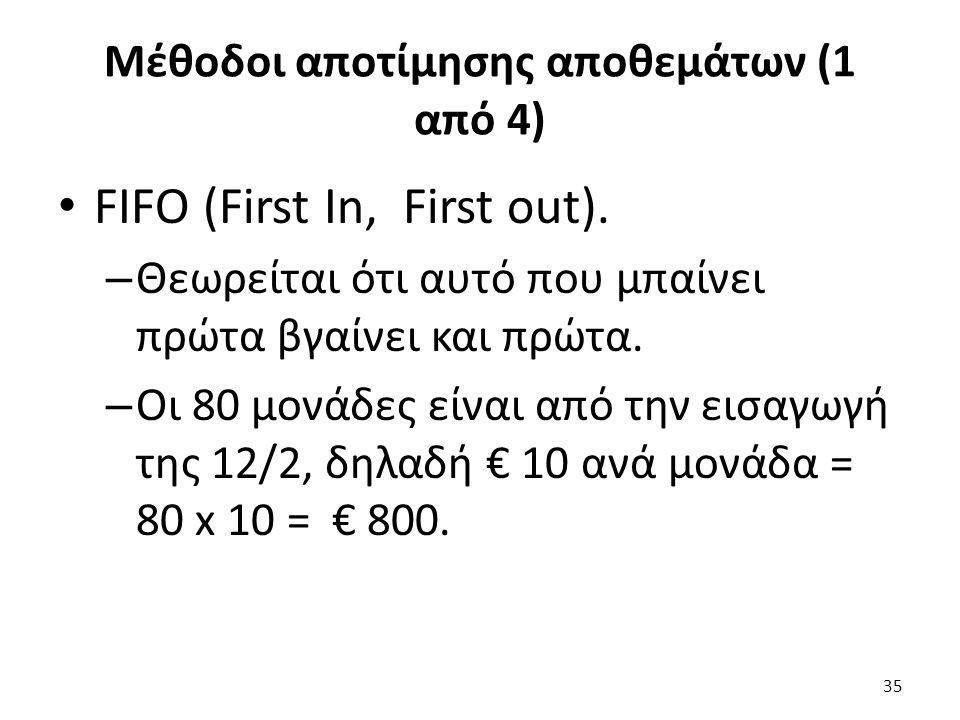 Μέθοδοι αποτίμησης αποθεμάτων (1 από 4) FIFO (First In, First out).