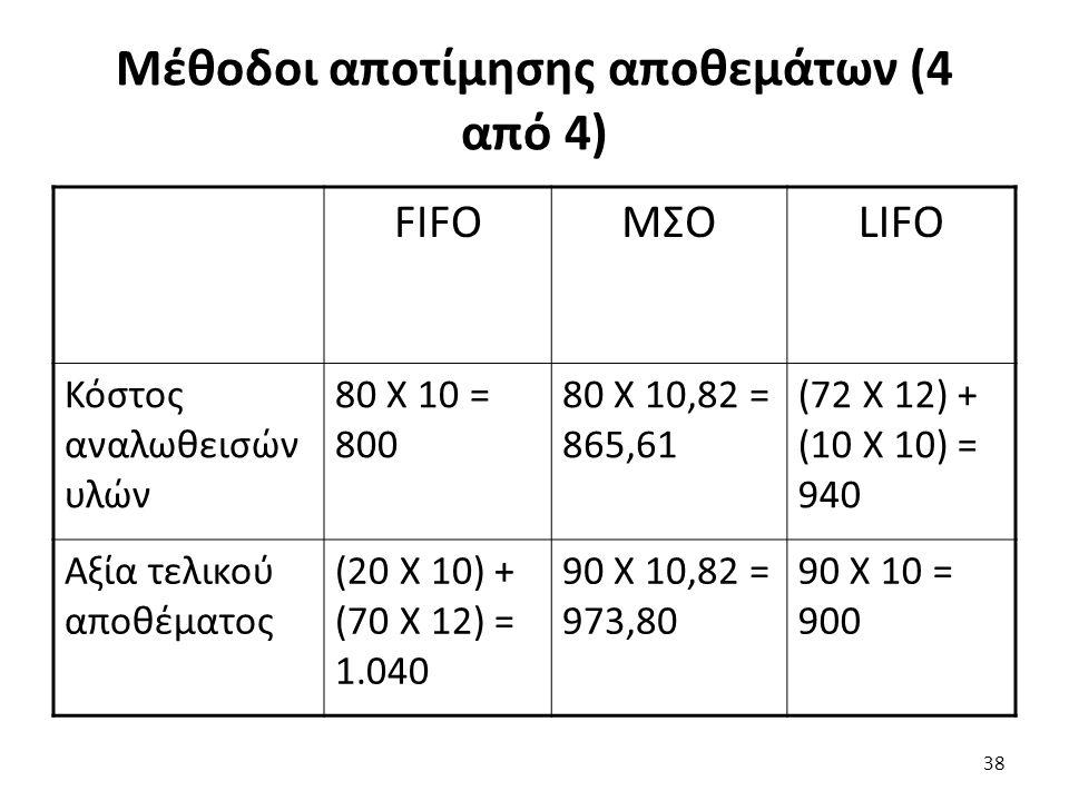 Μέθοδοι αποτίμησης αποθεμάτων (4 από 4) FIFOΜΣΟLIFO Κόστος αναλωθεισών υλών 80 Χ 10 = 800 80 Χ 10,82 = 865,61 (72 Χ 12) + (10 Χ 10) = 940 Αξία τελικού αποθέματος (20 Χ 10) + (70 Χ 12) = 1.040 90 Χ 10,82 = 973,80 90 Χ 10 = 900 38