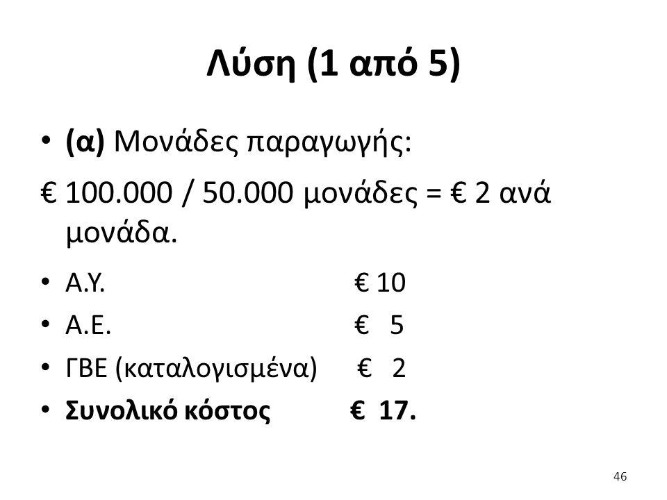 Λύση (1 από 5) (α) Μονάδες παραγωγής: € 100.000 / 50.000 μονάδες = € 2 ανά μονάδα.