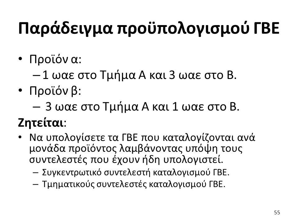Παράδειγμα προϋπολογισμού ΓΒΕ Προϊόν α: – 1 ωαε στο Τμήμα Α και 3 ωαε στο Β.