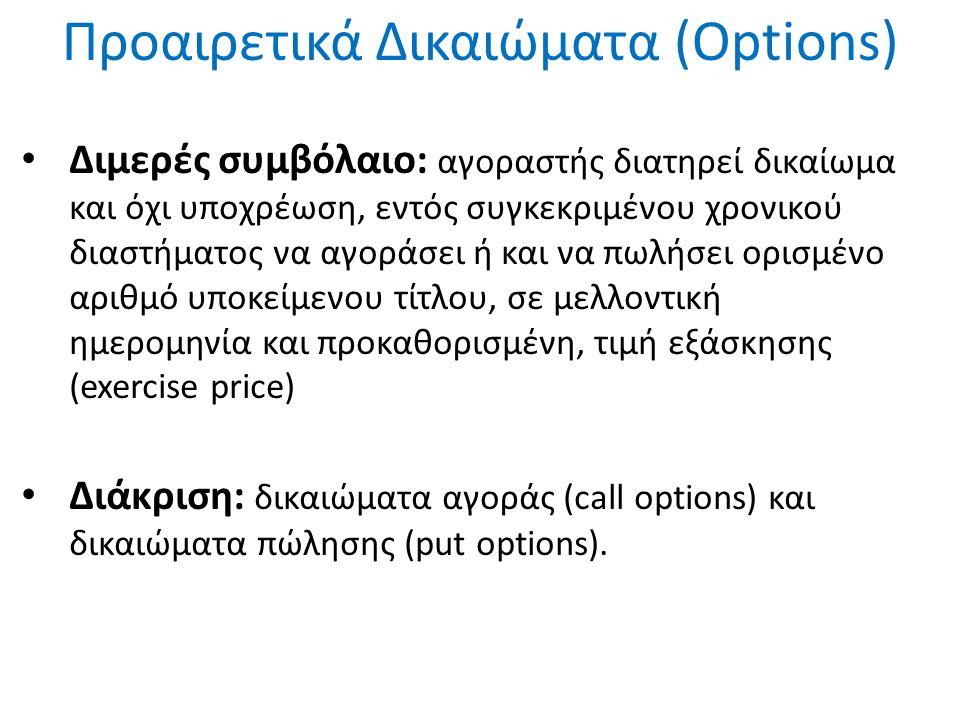Προαιρετικά Δικαιώματα (Options) Διμερές συμβόλαιο: αγοραστής διατηρεί δικαίωμα και όχι υποχρέωση, εντός συγκεκριμένου χρονικού διαστήματος να αγοράσει ή και να πωλήσει ορισμένο αριθμό υποκείμενου τίτλου, σε μελλοντική ημερομηνία και προκαθορισμένη, τιμή εξάσκησης (exercise price) Διάκριση: δικαιώματα αγοράς (call options) και δικαιώματα πώλησης (put options).