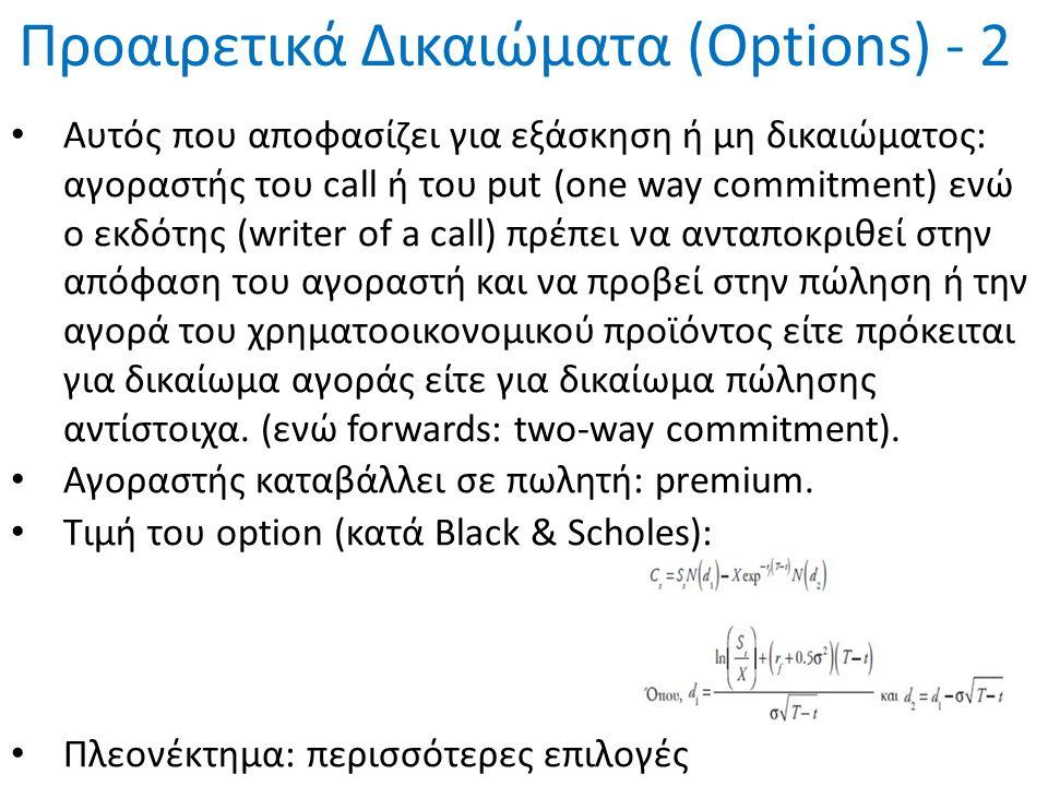 Προαιρετικά Δικαιώματα (Options) - 2 Aυτός που αποφασίζει για εξάσκηση ή μη δικαιώματος: αγοραστής του call ή του put (one way commitment) ενώ ο εκδότ