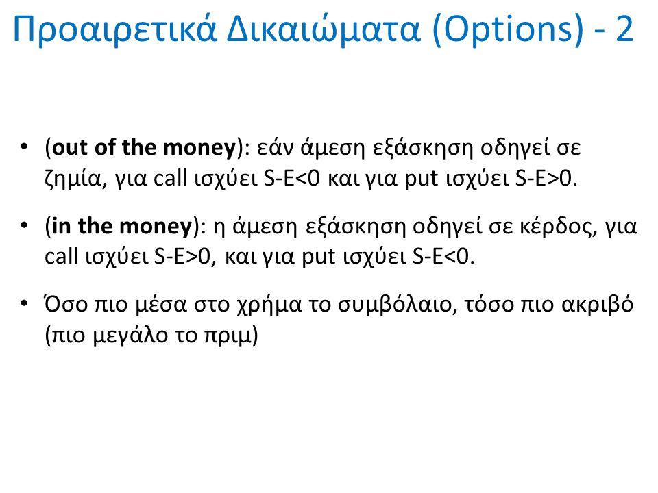 Προαιρετικά Δικαιώματα (Options) - 2 (out of the money): εάν άμεση εξάσκηση οδηγεί σε ζημία, για call ισχύει S-E 0. (in the money): η άμεση εξάσκηση ο