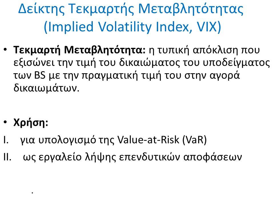 Δείκτης Τεκμαρτής Μεταβλητότητας (Implied Volatility Index, VIX) Τεκμαρτή Μεταβλητότητα: η τυπική απόκλιση που εξισώνει την τιμή του δικαιώματος του υποδείγματος των BS με την πραγματική τιμή του στην αγορά δικαιωμάτων.