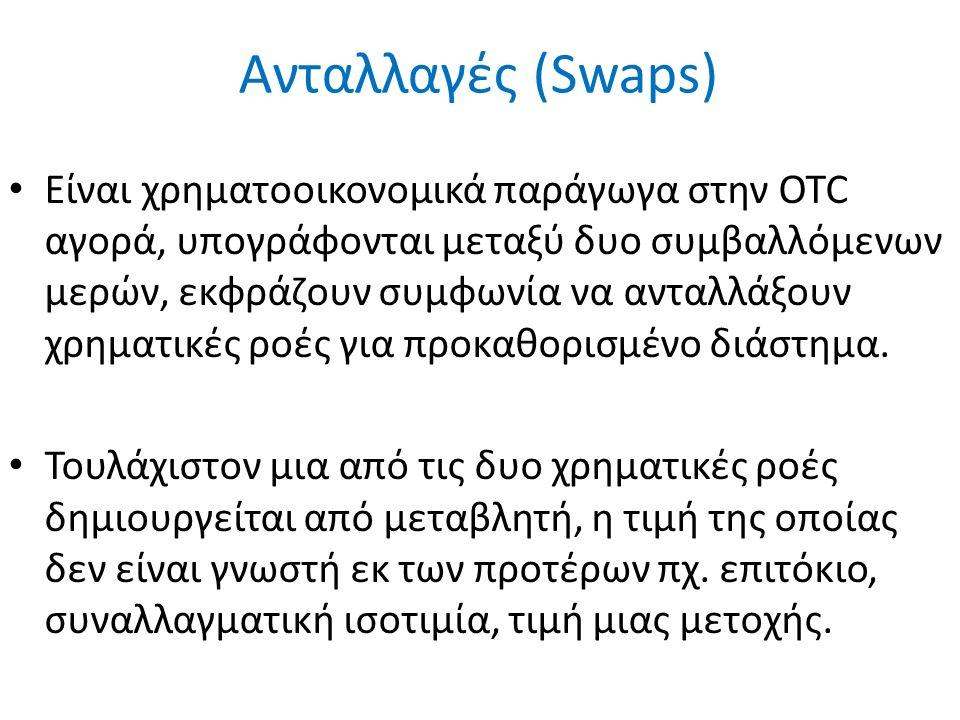 Ανταλλαγές (Swaps) Είναι χρηματοοικονομικά παράγωγα στην OTC αγορά, υπογράφονται μεταξύ δυο συμβαλλόμενων μερών, εκφράζουν συμφωνία να ανταλλάξουν χρηματικές ροές για προκαθορισμένο διάστημα.
