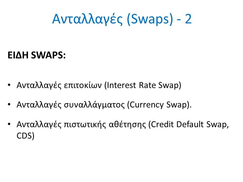 Ανταλλαγές (Swaps) - 2 ΕΙΔΗ SWAPS: Ανταλλαγές επιτοκίων (Interest Rate Swap) Ανταλλαγές συναλλάγματος (Currency Swap). Ανταλλαγές πιστωτικής αθέτησης