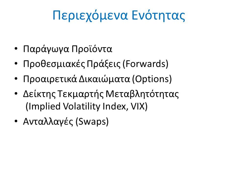 Περιεχόμενα Ενότητας Παράγωγα Προϊόντα Προθεσμιακές Πράξεις (Forwards) Προαιρετικά Δικαιώματα (Options) Δείκτης Τεκμαρτής Μεταβλητότητας (Implied Volatility Index, VIX) Ανταλλαγές (Swaps)