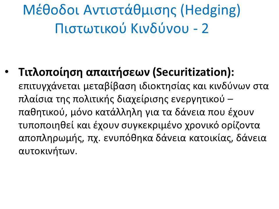 Μέθοδοι Αντιστάθμισης (Hedging) Πιστωτικού Κινδύνου - 2 Τιτλοποίηση απαιτήσεων (Securitization): επιτυγχάνεται μεταβίβαση ιδιοκτησίας και κινδύνων στα πλαίσια της πολιτικής διαχείρισης ενεργητικού – παθητικού, μόνο κατάλληλη για τα δάνεια που έχουν τυποποιηθεί και έχουν συγκεκριμένο χρονικό ορίζοντα αποπληρωμής, πχ.