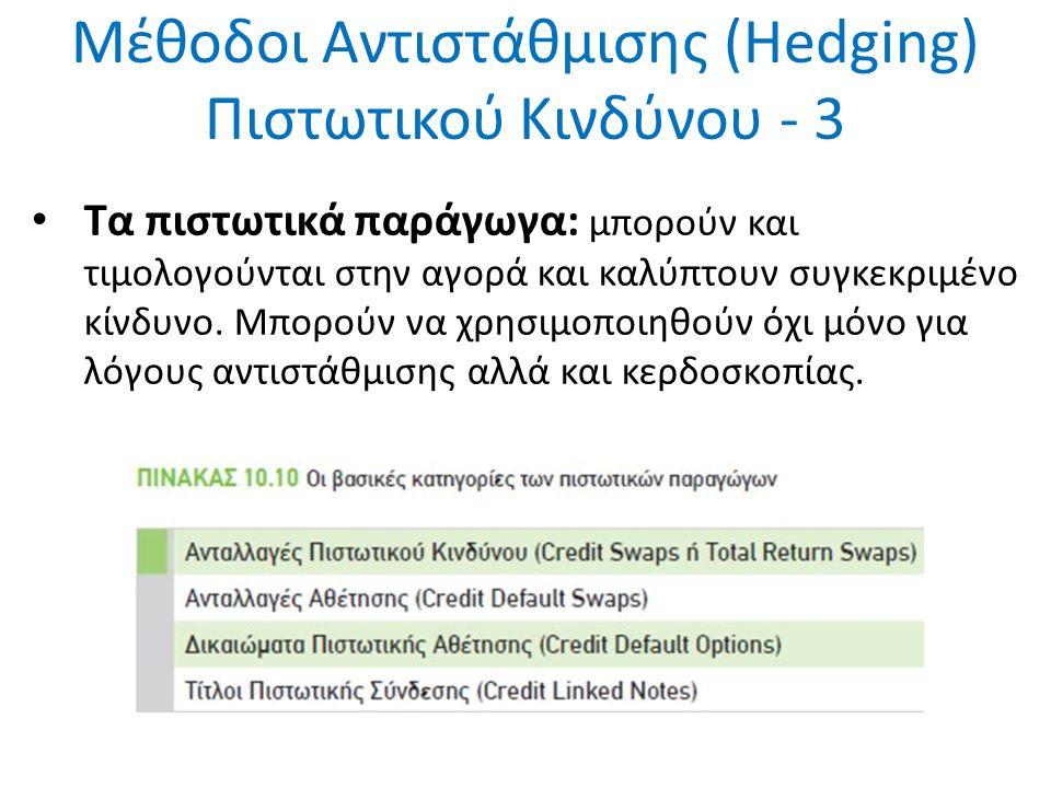 Μέθοδοι Αντιστάθμισης (Hedging) Πιστωτικού Κινδύνου - 3 Τα πιστωτικά παράγωγα: μπορούν και τιμολογούνται στην αγορά και καλύπτουν συγκεκριμένο κίνδυνο.