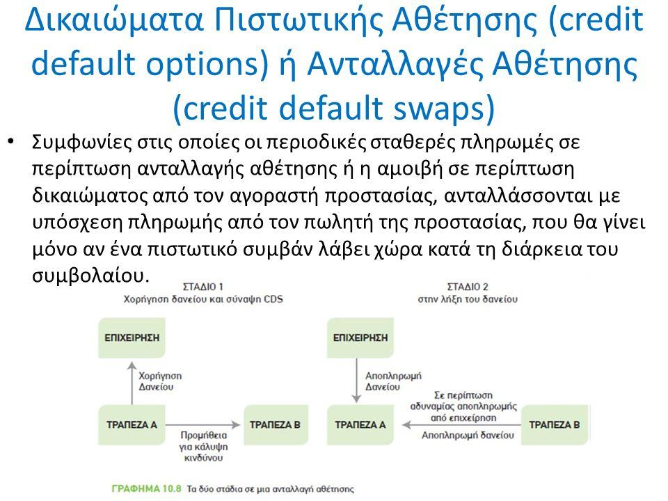 Δικαιώματα Πιστωτικής Αθέτησης (credit default options) ή Ανταλλαγές Αθέτησης (credit default swaps) Συμφωνίες στις οποίες οι περιοδικές σταθερές πληρωμές σε περίπτωση ανταλλαγής αθέτησης ή η αμοιβή σε περίπτωση δικαιώματος από τον αγοραστή προστασίας, ανταλλάσσονται με υπόσχεση πληρωμής από τον πωλητή της προστασίας, που θα γίνει μόνο αν ένα πιστωτικό συμβάν λάβει χώρα κατά τη διάρκεια του συμβολαίου.