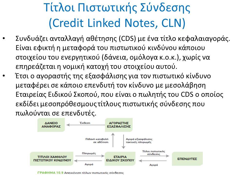 Τίτλοι Πιστωτικής Σύνδεσης (Credit Linked Notes, CLN) Συνδυάζει ανταλλαγή αθέτησης (CDS) με ένα τίτλο κεφαλαιαγοράς. Είναι εφικτή η μεταφορά του πιστω