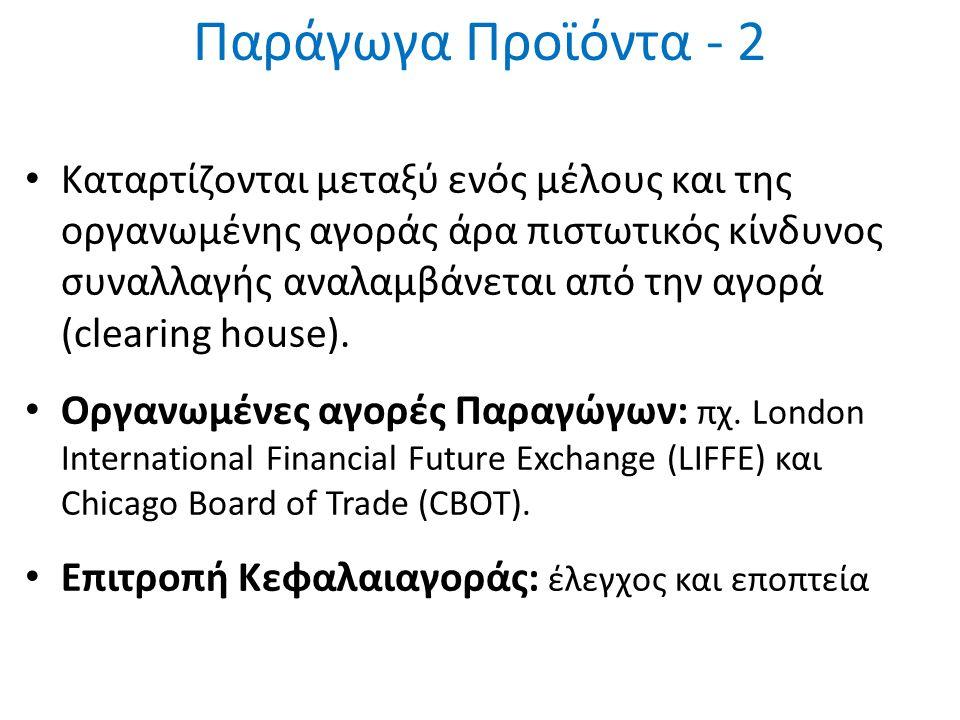 Προθεσμιακές Πράξεις (Forwards) Συμφωνία μεταξύ δυο αντισυμβαλλόμενων σήμερα για διενέργεια οικονομικής συναλλαγής σε συγκεκριμένη στιγμή στο μέλλον.