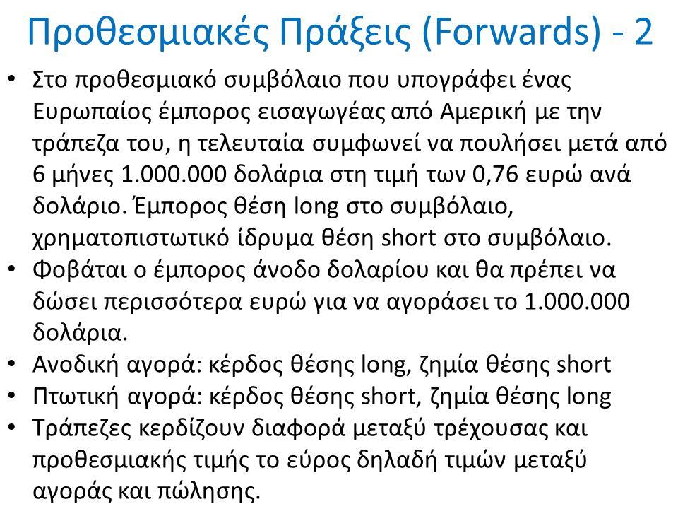 Προθεσμιακές Πράξεις (Forwards) - 2 Στο προθεσμιακό συμβόλαιο που υπογράφει ένας Ευρωπαίος έμπορος εισαγωγέας από Αμερική με την τράπεζα του, η τελευταία συμφωνεί να πουλήσει μετά από 6 μήνες 1.000.000 δολάρια στη τιμή των 0,76 ευρώ ανά δολάριο.