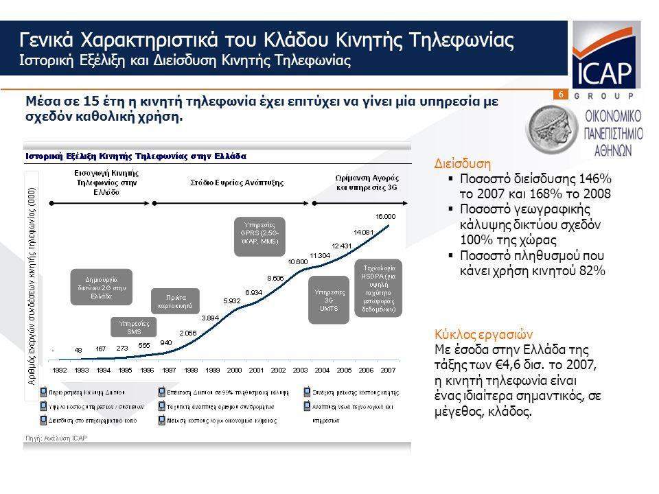 6 Γενικά Χαρακτηριστικά του Κλάδου Κινητής Τηλεφωνίας Ιστορική Εξέλιξη και Διείσδυση Κινητής Τηλεφωνίας Κύκλος εργασιών Με έσοδα στην Ελλάδα της τάξης των €4,6 δισ.