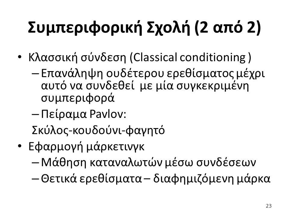 23 Κλασσική σύνδεση (Classical conditioning ) – Επανάληψη ουδέτερου ερεθίσματος μέχρι αυτό να συνδεθεί με μία συγκεκριμένη συμπεριφορά – Πείραμα Pavlov: Σκύλος-κουδούνι-φαγητό Εφαρμογή μάρκετινγκ – Μάθηση καταναλωτών μέσω συνδέσεων – Θετικά ερεθίσματα – διαφημιζόμενη μάρκα Συμπεριφορική Σχολή (2 από 2)