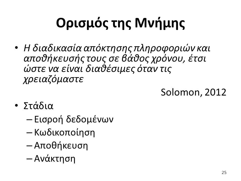 25 Η διαδικασία απόκτησης πληροφοριών και αποθήκευσής τους σε βάθος χρόνου, έτσι ώστε να είναι διαθέσιμες όταν τις χρειαζόμαστε Solomon, 2012 Στάδια – Εισροή δεδομένων – Κωδικοποίηση – Αποθήκευση – Ανάκτηση Ορισμός της Μνήμης