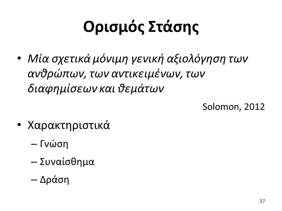 37 Μία σχετικά μόνιμη γενική αξιολόγηση των ανθρώπων, των αντικειμένων, των διαφημίσεων και θεμάτων Solomon, 2012 Χαρακτηριστικά – Γνώση – Συναίσθημα – Δράση Ορισμός Στάσης