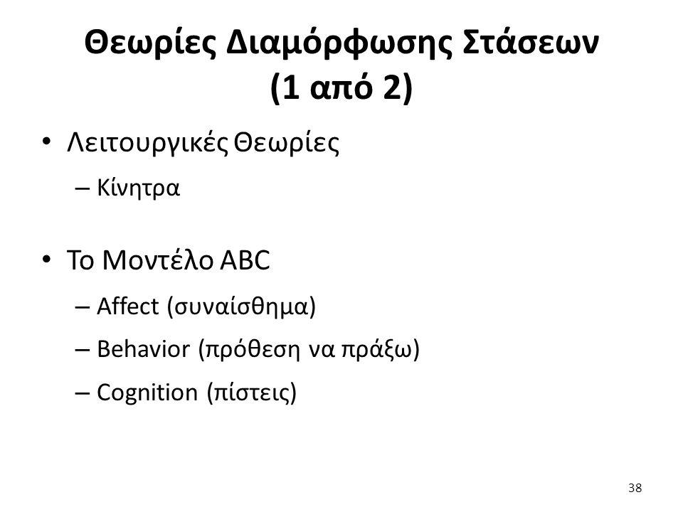 38 Λειτουργικές Θεωρίες – Κίνητρα Το Μοντέλο ABC – Affect (συναίσθημα) – Βehavior (πρόθεση να πράξω) – Cognition (πίστεις) Θεωρίες Διαμόρφωσης Στάσεων (1 από 2)