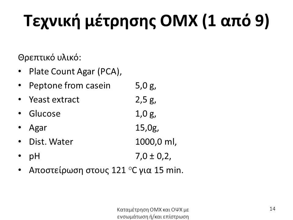 Τεχνική μέτρησης ΟΜΧ (1 από 9) Θρεπτικό υλικό: Plate Count Agar (PCA), Peptone from casein5,0 g, Yeast extract2,5 g, Glucose1,0 g, Agar15,0g, Dist.