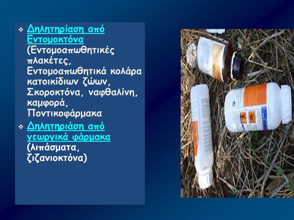  Δηλητηρίαση από Εντομοκτόνα (Εντομοαπωθητικές πλακέτες, Εντομοαπωθητικά κολάρα κατοικίδιων ζώων, Σκοροκτόνα, ναφθαλίνη, καμφορά, Ποντικοφάρμακα  Δη