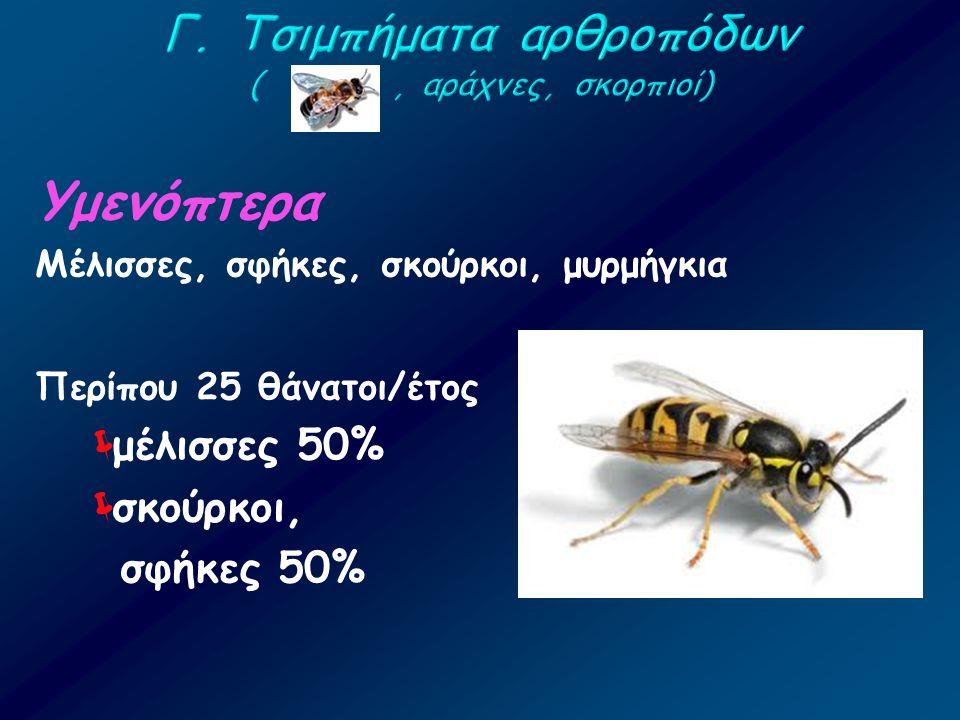 Υμενόπτερα Μέλισσες, σφήκες, σκούρκοι, μυρμήγκια Περίπου 25 θάνατοι/έτος  μέλισσες 50%  σκούρκοι, σφήκες 50%