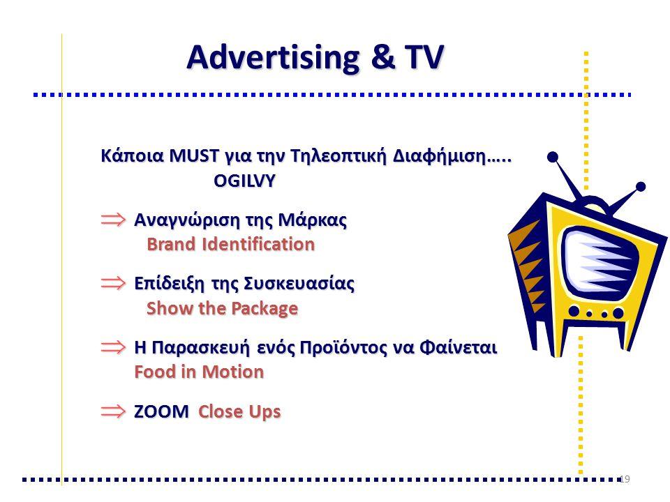 Advertising & TV Κάποια MUST για την Τηλεοπτική Διαφήμιση…..