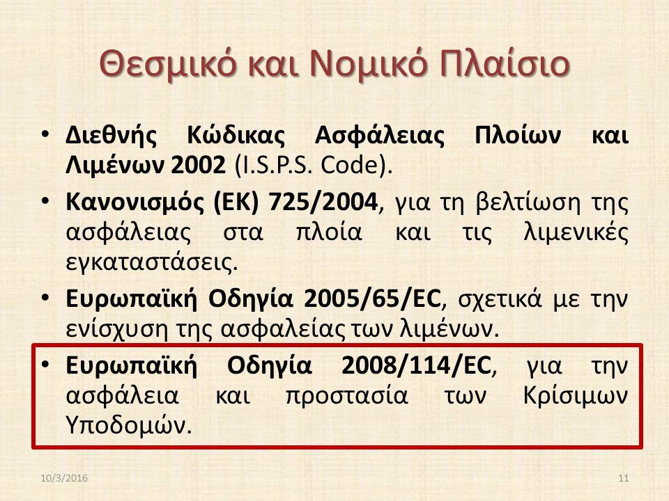 Θεσμικό και Νομικό Πλαίσιο Διεθνής Κώδικας Ασφάλειας Πλοίων και Λιμένων 2002 (I.S.P.S.