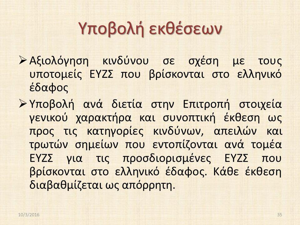 Υποβολή εκθέσεων  Αξιολόγηση κινδύνου σε σχέση με τους υποτομείς ΕΥΖΣ που βρίσκονται στο ελληνικό έδαφος  Υποβολή ανά διετία στην Επιτροπή στοιχεία γενικού χαρακτήρα και συνοπτική έκθεση ως προς τις κατηγορίες κινδύνων, απειλών και τρωτών σημείων που εντοπίζονται ανά τομέα ΕΥΖΣ για τις προσδιορισμένες ΕΥΖΣ που βρίσκονται στο ελληνικό έδαφος.