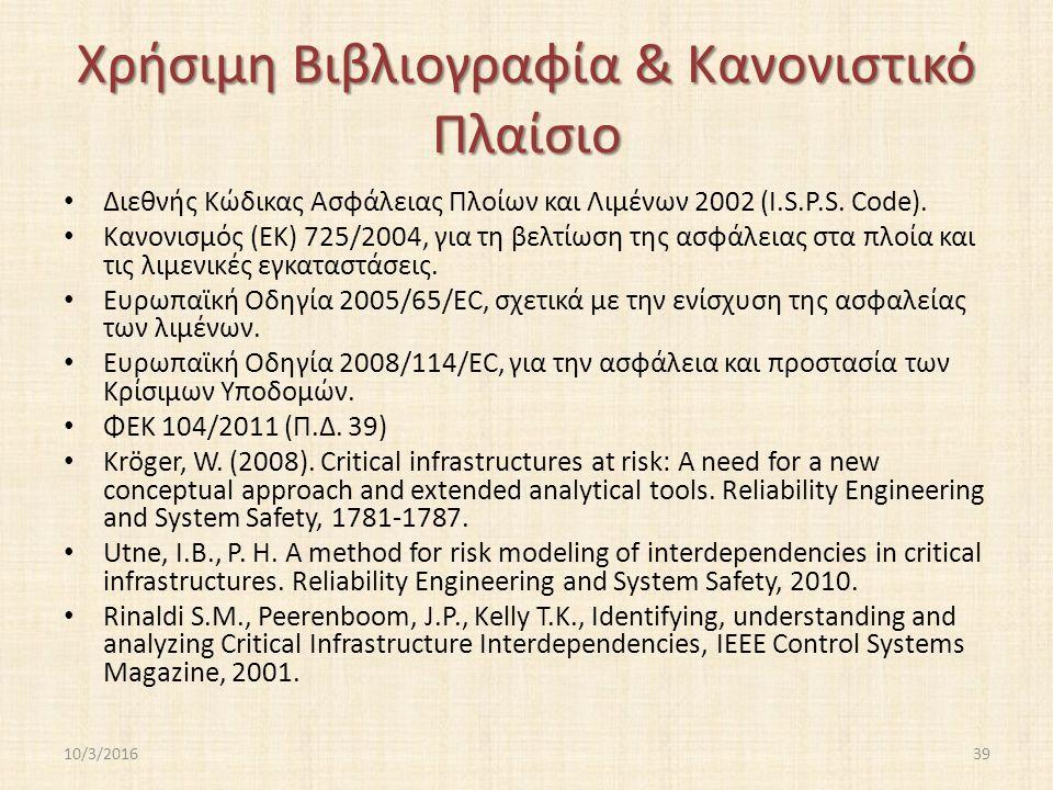 Χρήσιμη Βιβλιογραφία & Κανονιστικό Πλαίσιο Διεθνής Κώδικας Ασφάλειας Πλοίων και Λιμένων 2002 (I.S.P.S.