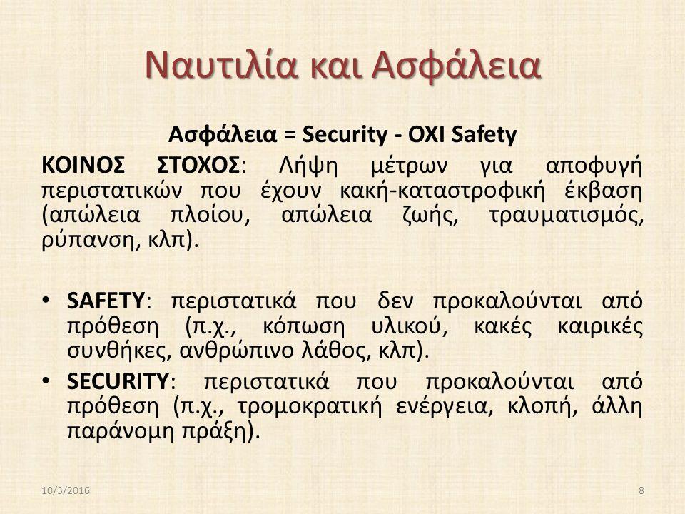 Ναυτιλία και Ασφάλεια Ασφάλεια = Security - ΟΧΙ Safety ΚΟΙΝΟΣ ΣΤΟΧΟΣ: Λήψη μέτρων για αποφυγή περιστατικών που έχουν κακή-καταστροφική έκβαση (απώλεια πλοίου, απώλεια ζωής, τραυματισμός, ρύπανση, κλπ).
