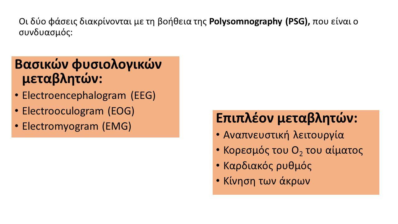 Οι δύο φάσεις διακρίνονται με τη βοήθεια της Polysomnography (PSG), που είναι ο συνδυασμός: Βασικών φυσιολογικών μεταβλητών: Electroencephalogram (EEG) Electrooculogram (EOG) Electromyogram (EMG) Επιπλέον μεταβλητών: Αναπνευστική λειτουργία Κορεσμός του Ο 2 του αίματος Καρδιακός ρυθμός Κίνηση των άκρων