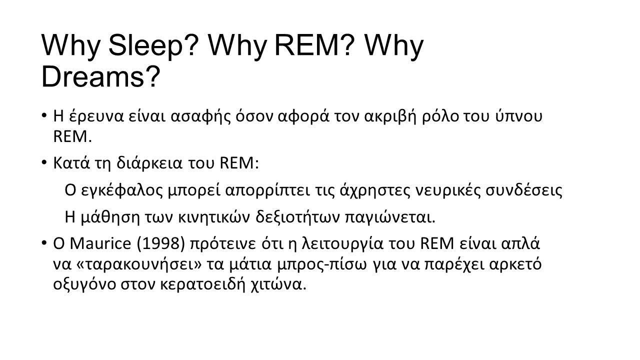 Why Sleep. Why REM. Why Dreams. Η έρευνα είναι ασαφής όσον αφορά τον ακριβή ρόλο του ύπνου REM.