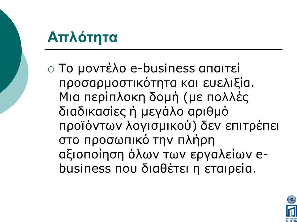 Απλότητα  Το μοντέλο e-business απαιτεί προσαρμοστικότητα και ευελιξία.