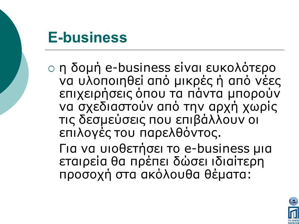 E-business  η δομή e-business είναι ευκολότερο να υλοποιηθεί από μικρές ή από νέες επιχειρήσεις όπου τα πάντα μπορούν να σχεδιαστούν από την αρχή χωρίς τις δεσμεύσεις που επιβάλλουν οι επιλογές του παρελθόντος.