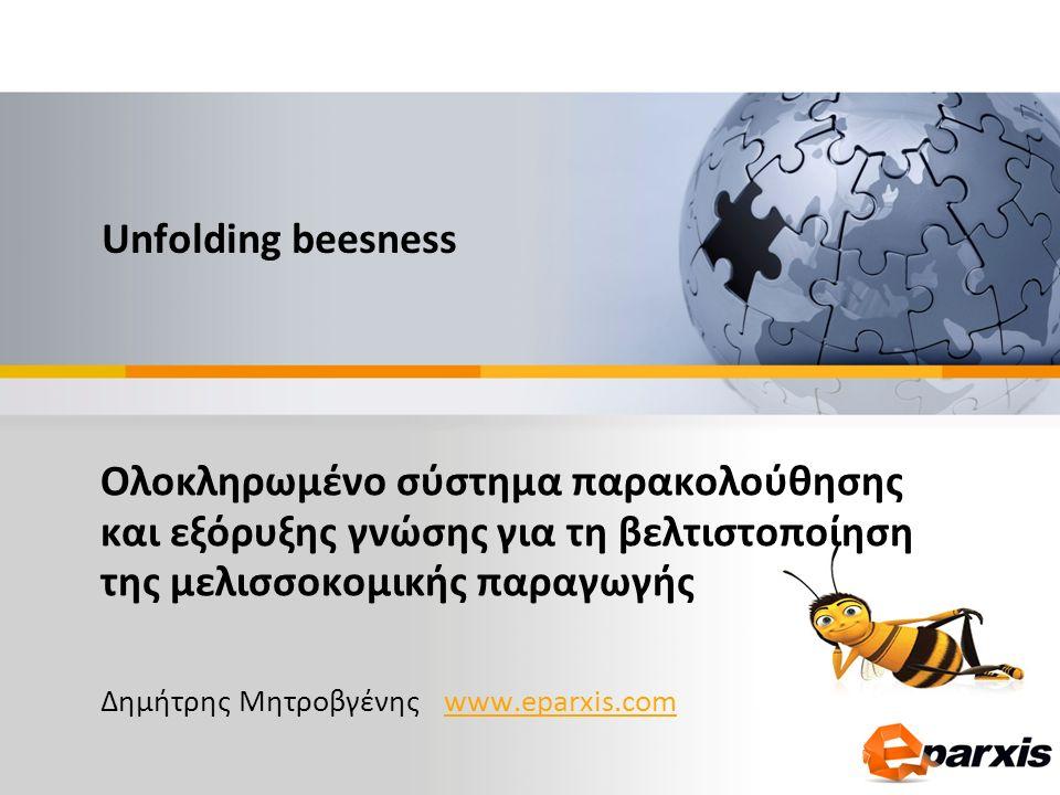 Ολοκληρωμένο σύστημα παρακολούθησης και εξόρυξης γνώσης για τη βελτιστοποίηση της μελισσοκομικής παραγωγής Δημήτρης Μητροβγένης www.eparxis.comwww.eparxis.com Unfolding beesness