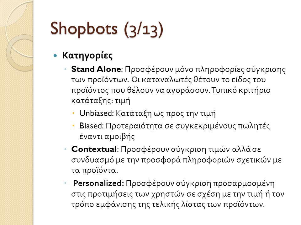 Shopbots (3/1 3 ) Κατηγορίες ◦ Stand Alone: Προσφέρουν μόνο πληροφορίες σύγκρισης των προϊόντων. Οι καταναλωτές θέτουν το είδος του προϊόντος που θέλο