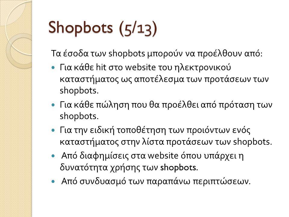Shopbots (5/1 3 ) Τα έσοδα των shopbots μπορούν να προέλθουν από : Για κάθε hit στο website του ηλεκτρονικού καταστήματος ως αποτέλεσμα των προτάσεων των shopbots.