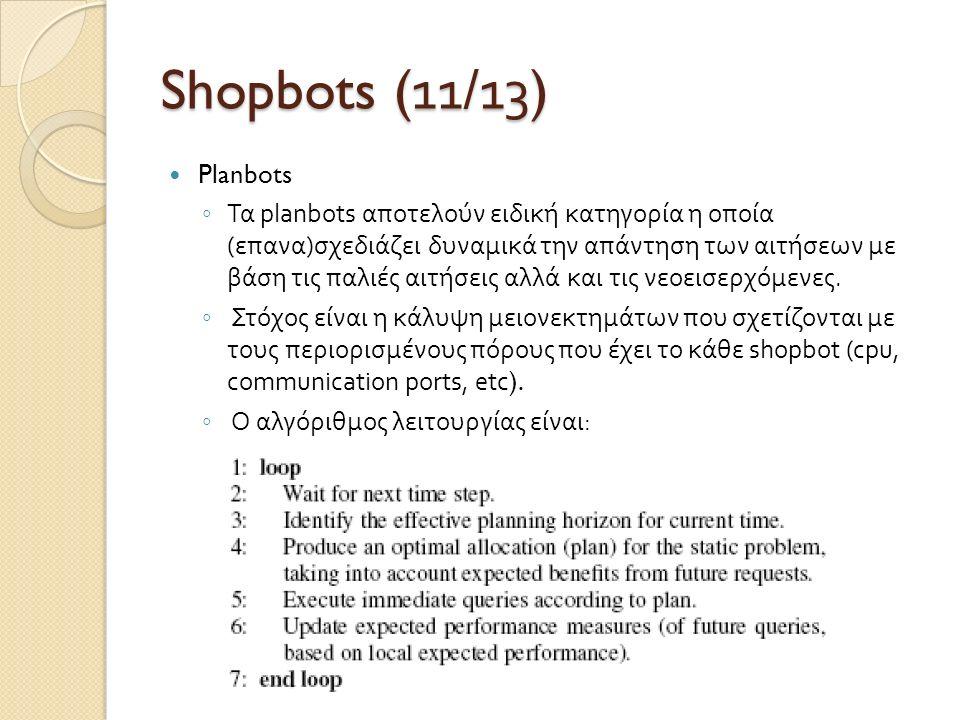 Shopbots (1 1 /1 3 ) Planbots ◦ Τα planbots αποτελούν ειδική κατηγορία η οποία ( επανα ) σχεδιάζει δυναμικά την απάντηση των αιτήσεων με βάση τις παλι