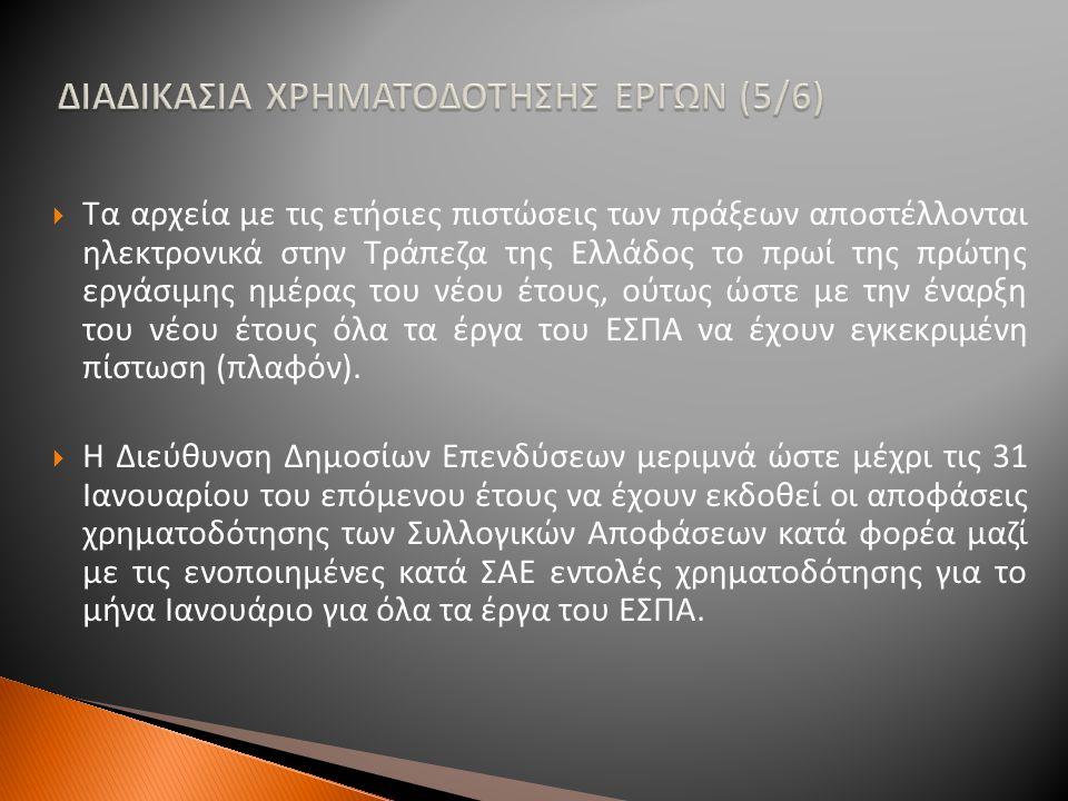 ΔΙΑΔΙΚΑΣΙΑ ΧΡΗΜΑΤΟΔΟΤΗΣΗΣ ΕΡΓΩΝ (5/6)  Τα αρχεία με τις ετήσιες πιστώσεις των πράξεων αποστέλλονται ηλεκτρονικά στην Τράπεζα της Ελλάδος το πρωί της