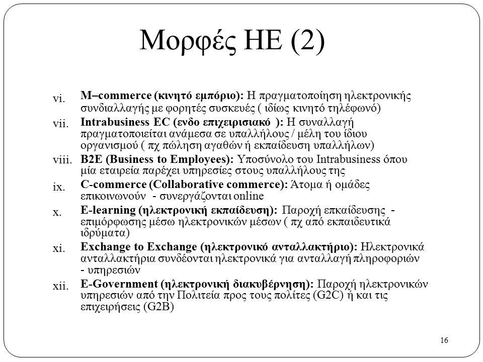 16 vi. vii. viii. ix. x. xi. xii. Μορφές ΗΕ (2) M–commerce (κινητό εμπόριο): Η πραγματοποίηση ηλεκτρονικής συνδιαλλαγής με φορητές συσκευές ( ιδίως κι
