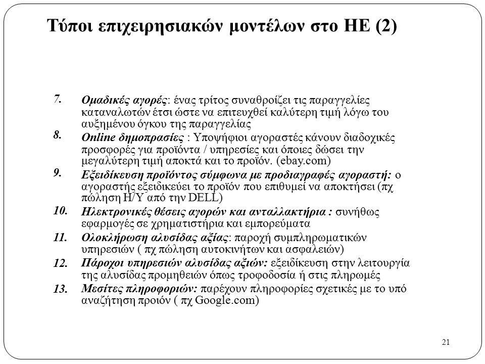 21 Τύποι επιχειρησιακών μοντέλων στο ΗΕ (2) 7. 8. 9. 10. 11. 12. 13. Ομαδικές αγορές: ένας τρίτος συναθροίζει τις παραγγελίες καταναλωτών έτσι ώστε να