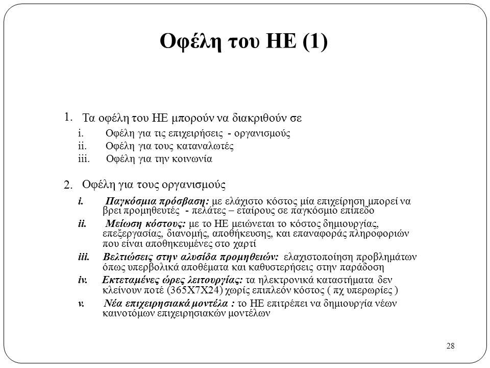 28 1. 2. Οφέλη του ΗΕ (1) Τα οφέλη του ΗΕ μπορούν να διακριθούν σε i. Οφέλη για τις επιχειρήσεις - οργανισμούς ii. Οφέλη για τους καταναλωτές iii. Οφέ