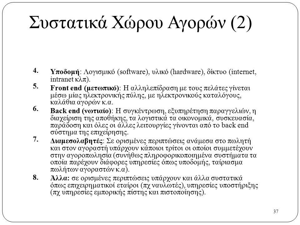37 Συστατικά Χώρου Αγορών (2) 4. 5. 6. 7. 8. Υποδομή: Λογισμικό (software), υλικό (hardware), δίκτυο (internet, intranet κλπ). Front end (μετωπικό): Η